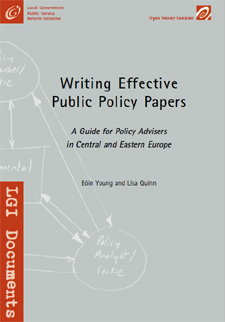 writing policy papers Young, e & quinn, l (2002) writing effective public policy papers: a guide to policy advisers in central and eastern europe local government and public reform.